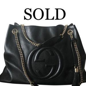 Gucci Large Black Soho Shoulder Bag with Tassel